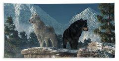 Bath Towel featuring the digital art White Wolf, Black Wolf by Daniel Eskridge