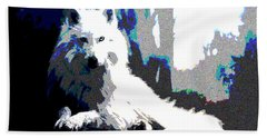 Hand Towel featuring the mixed media White Wolf by Charles Shoup