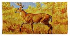 Whitetail Deer In Aspen Woods Hand Towel