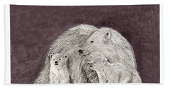 Bath Towel featuring the painting Polar Bear Family by Jack Pumphrey