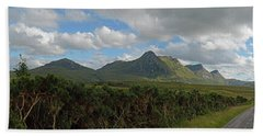 Wide Panoramic Landscape Of The Scottish Highlands Near Tongue Bath Towel