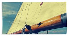 Large Sail Blue Horizon With Antique Yellow Tinting Bath Towel