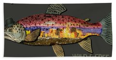 Wild And Free In Anchorage-trout With Hat Bath Towel by Elaine Ossipov