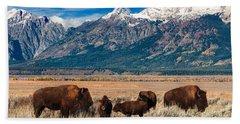 Wild Bison On The Open Range Hand Towel