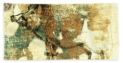 Hand Towel featuring the drawing Wild Boar Cave Painting 1 by Larry Campbell