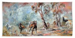 Hand Towel featuring the painting Wild Brumbies by Ryn Shell
