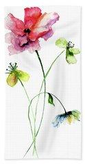 Wild Flowers Watercolor Illustration Hand Towel