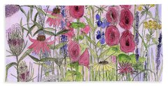 Hand Towel featuring the painting Wild Garden Flowers by Laurie Rohner