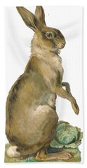 Hand Towel featuring the digital art Wild Hare by ReInVintaged