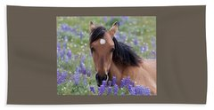 Wild Horse Among Lupines Bath Towel