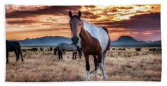 Wild Horses At Sunset Hand Towel