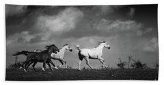 Wild Horses - Black And White Bath Towel