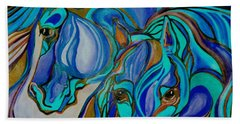Wild  Horses In Brown And Teal Hand Towel