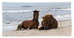 Wild Horses Of Assateague Island Hand Towel by Edward Kreis