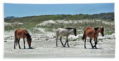 Wild Horses On The Beach Hand Towel