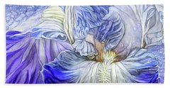 Hand Towel featuring the mixed media Wild Iris Blue by Carol Cavalaris