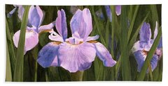Hand Towel featuring the painting Wild Iris by Laurie Rohner