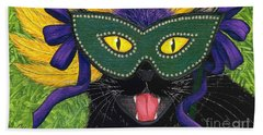 Wild Mardi Gras Cat Bath Towel by Carrie Hawks