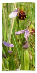 Wild Meadow Bee Orchids Bath Towel