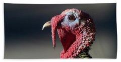 Wild Merriams Turkey Portrait  Bath Towel