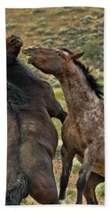 Wild Mustang Stallions Fighting Bath Towel