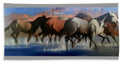 Wild Mustangs Of The Verder River Bath Towel