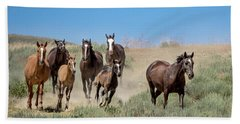wild mustangs on the run to the water hole in Sand Wash Basin Bath Towel
