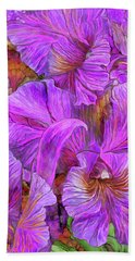 Hand Towel featuring the mixed media Wild Orchids by Carol Cavalaris