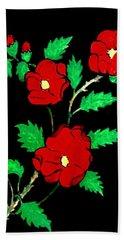 Wild Red Roses Bath Towel