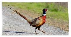Wild Ring-neck Pheasant On The Move Bath Towel
