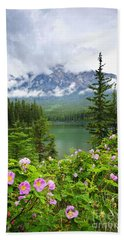 Wild Roses And Mountain Lake In Jasper National Park Hand Towel