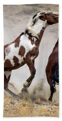 Wild Stallion Battle - Picasso And Dragon Hand Towel by Nadja Rider