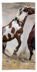Wild Stallion Battle - Picasso And Dragon Bath Towel