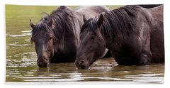 Wild Stallions At The Water Hole Hand Towel