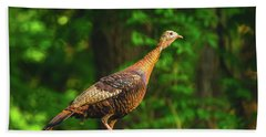 Wild Turkey Profile On Rooftop Hand Towel