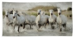 Wild White Horses Of The Camargue I Hand Towel