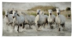 Wild White Horses Of The Camargue I Bath Towel