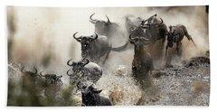 Wildebeest Herd Crossing The Mara River Hand Towel