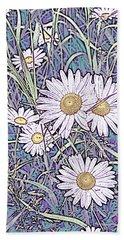 Wildflower Daisies In Field Of Purple And Teal Bath Towel
