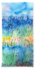 Bath Towel featuring the painting Wildflower Meadow And Stone Wall Inisheer  by Trudi Doyle