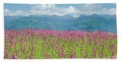 Wildflower Meadows And The Carpathian Mountains, Romania Bath Towel