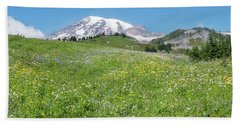 Wildflowers And Rainier Bath Towel