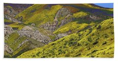 Wildflowers Galore At Carrizo Plain National Monument In California Bath Towel