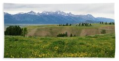 Wildflowers In The Grand Teton National Park Hand Towel by Serge Skiba