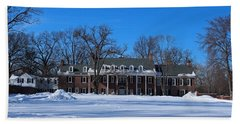 Wildwood Manor House In The Winter Hand Towel by Michiale Schneider