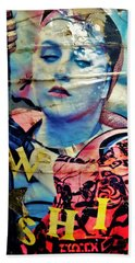 Williamsburg Brooklyn Woman Mural  Bath Towel