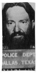 Willie Nelson Mug Shot Vertical Black And White Hand Towel