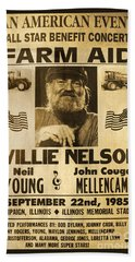 Willie Nelson Neil Young 1985 Farm Aid Poster Hand Towel by John Stephens