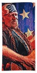 Willie Nelson Bath Towel by Taylan Apukovska