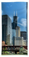 Willis Tower, Skyline And Chicago River On A Sunny Day  Bath Towel